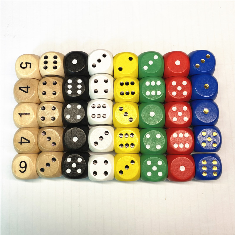 10pcs  Wood Dice D6 Sided Dice 16mm Digital Number Or Point Cubes Round Corner For Kid Toys Board Games