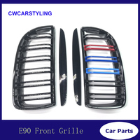 3 Color 1 Pair Front Glossy Black 2 Line Double Slat Kidney Grille Grill For BMW E90 E91 4 Door 2005 06 07 2008
