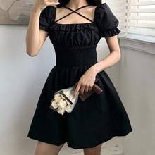 GothGirl Dark Black Dress Women Square Collar Lace High Waist Mini A-line Dress Sweet Lolita Night Club Party Dress for Female