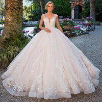 Liyuke Short Sleeve Gorgeous Ball Gown Wedding Dress With Delicate Lace Of Court Train Bridal Dress