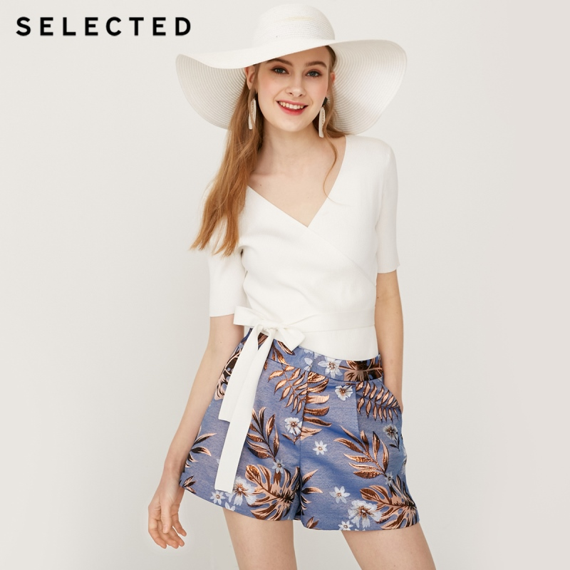 SELECTED Women's Spring High-rise A-lined Jacquard Weave Shorts S 4191SH501