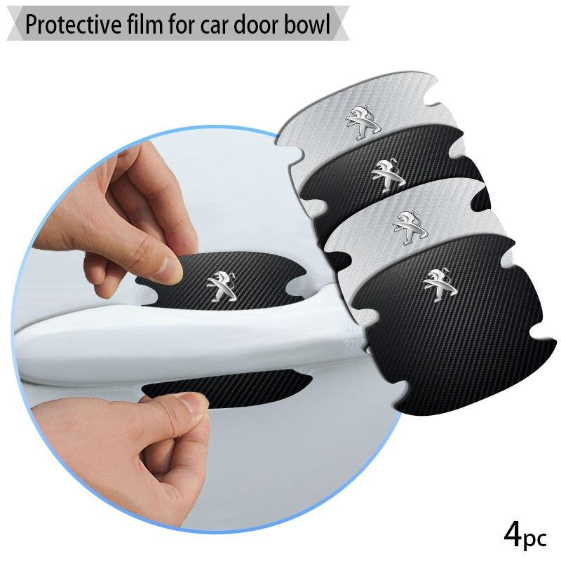 4 шт. Автомобиль дверная ручка из углеродного волокна наклейки автомобильные товары Стикеры для Peugeots логотип 206 308 307 208 3008 207 407 2008 508 807|Наклейки на автомобиль|   | АлиЭкспресс