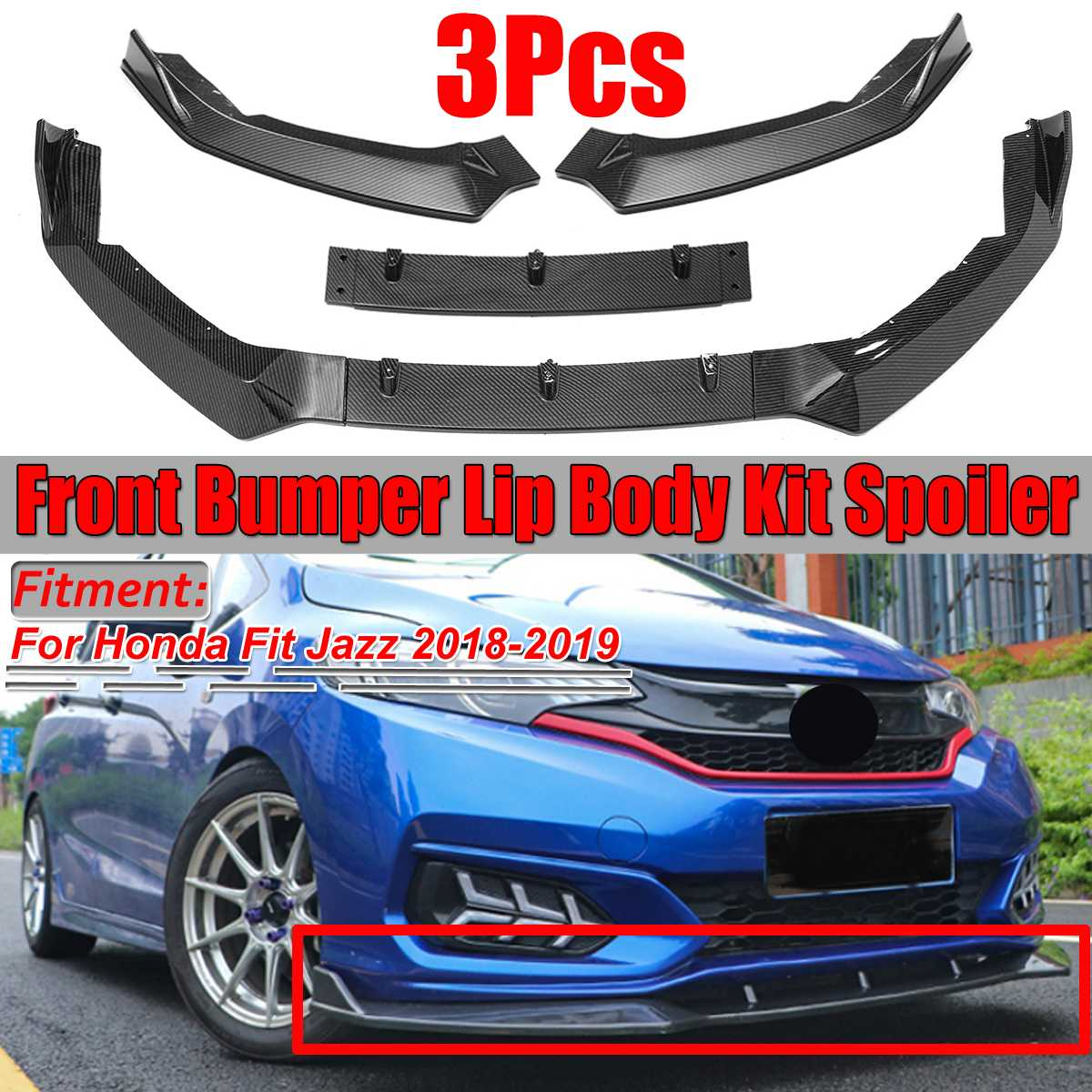 For Toyota Camry L LE XLE 2018 2019 Carbon Fiber k Front Bumper Lip Body Spoiler