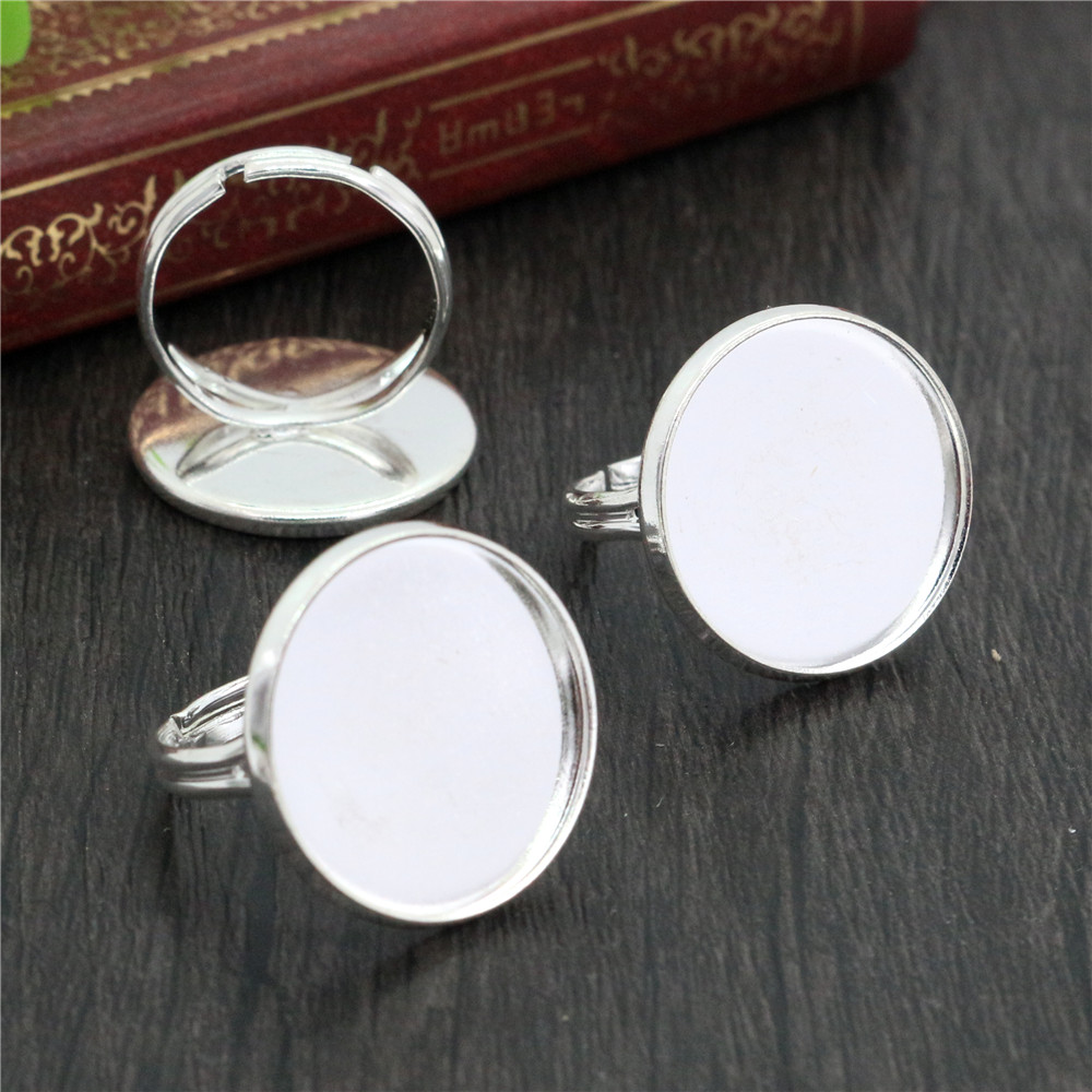 20mm 10pcs Light Silver Plated Brass Adjustable Ring Settings Blank/Base,Fit 20mm Glass Cabochons,Buttons;Ring Bezels -K3-02