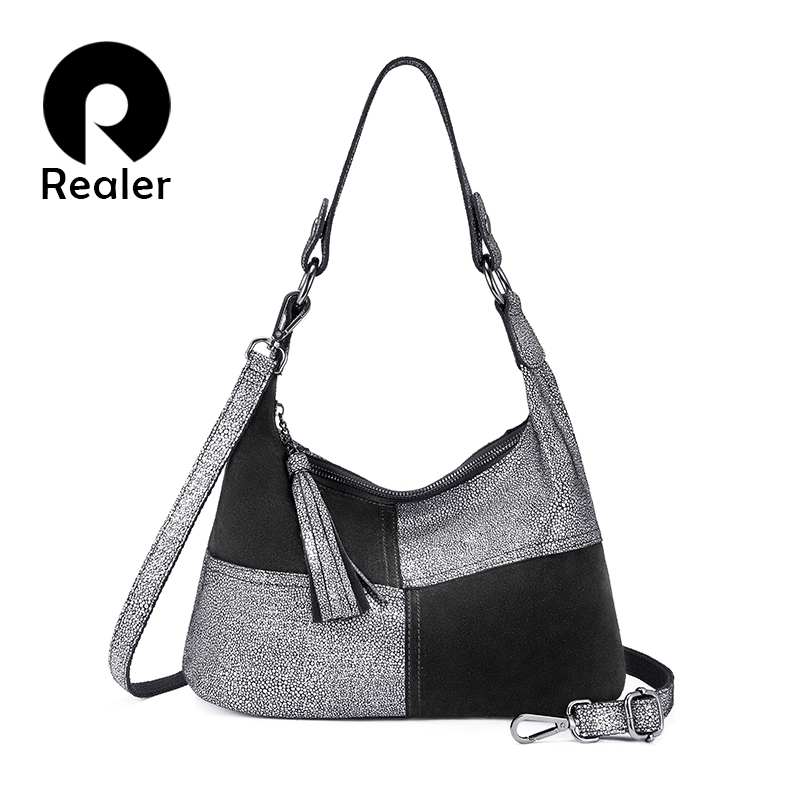 REALER Women Shoulder Bag Hobo Genuine Leather Handbag For Lady Patchwork Pattern Cross Body Messenger Bag Tassel Luxury Design