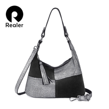 REALER women shoulder bag hobo genuine leather handbag for lady patchw