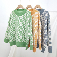 2019 New large size autumn winter knit sweater women plaid long sleeve pullovers Loose casual tops bottoming sweater female 2939