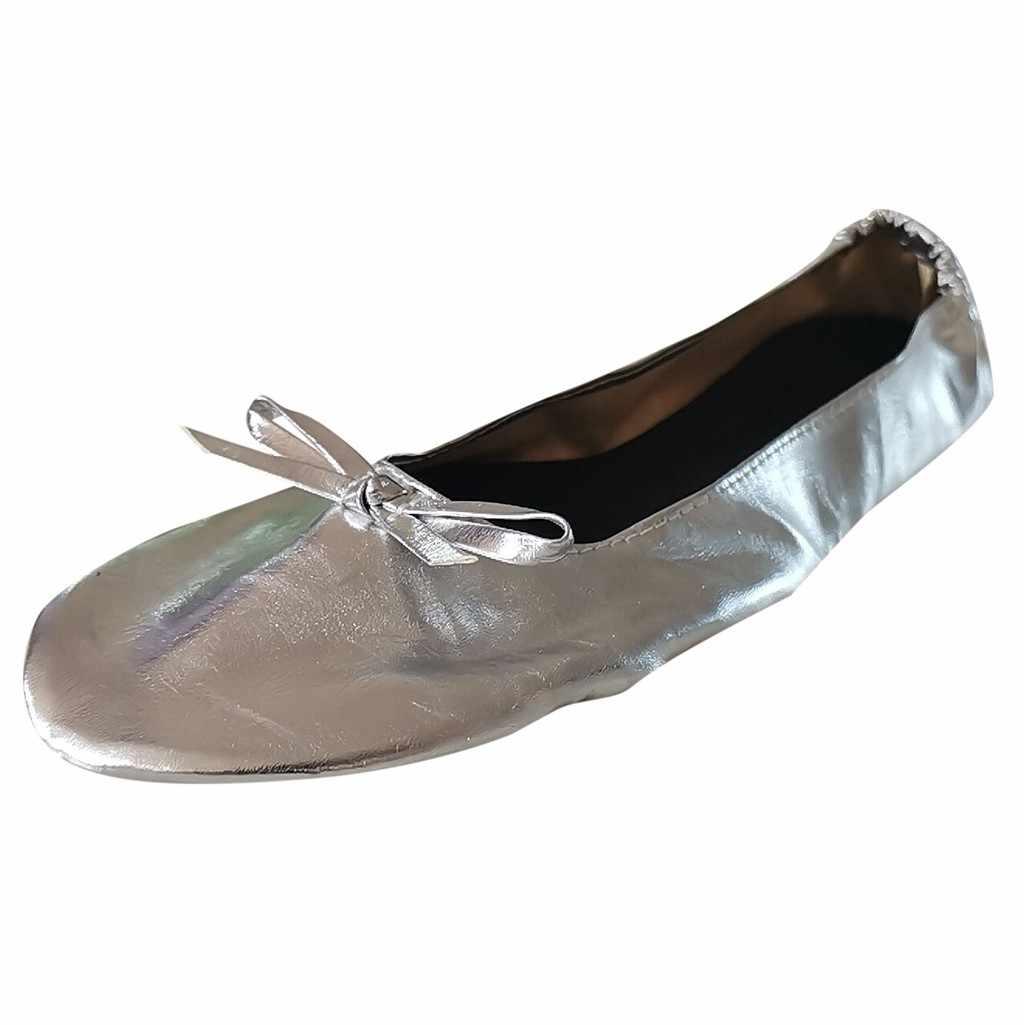 2019 ผู้หญิงสุภาพสตรีรองเท้าแบนท่องเที่ยวพับได้แบบพกพา Ballet แบนม้วนรองเท้าแตะรองเท้า Dance Party รองเท้า chaussures femme # XP20