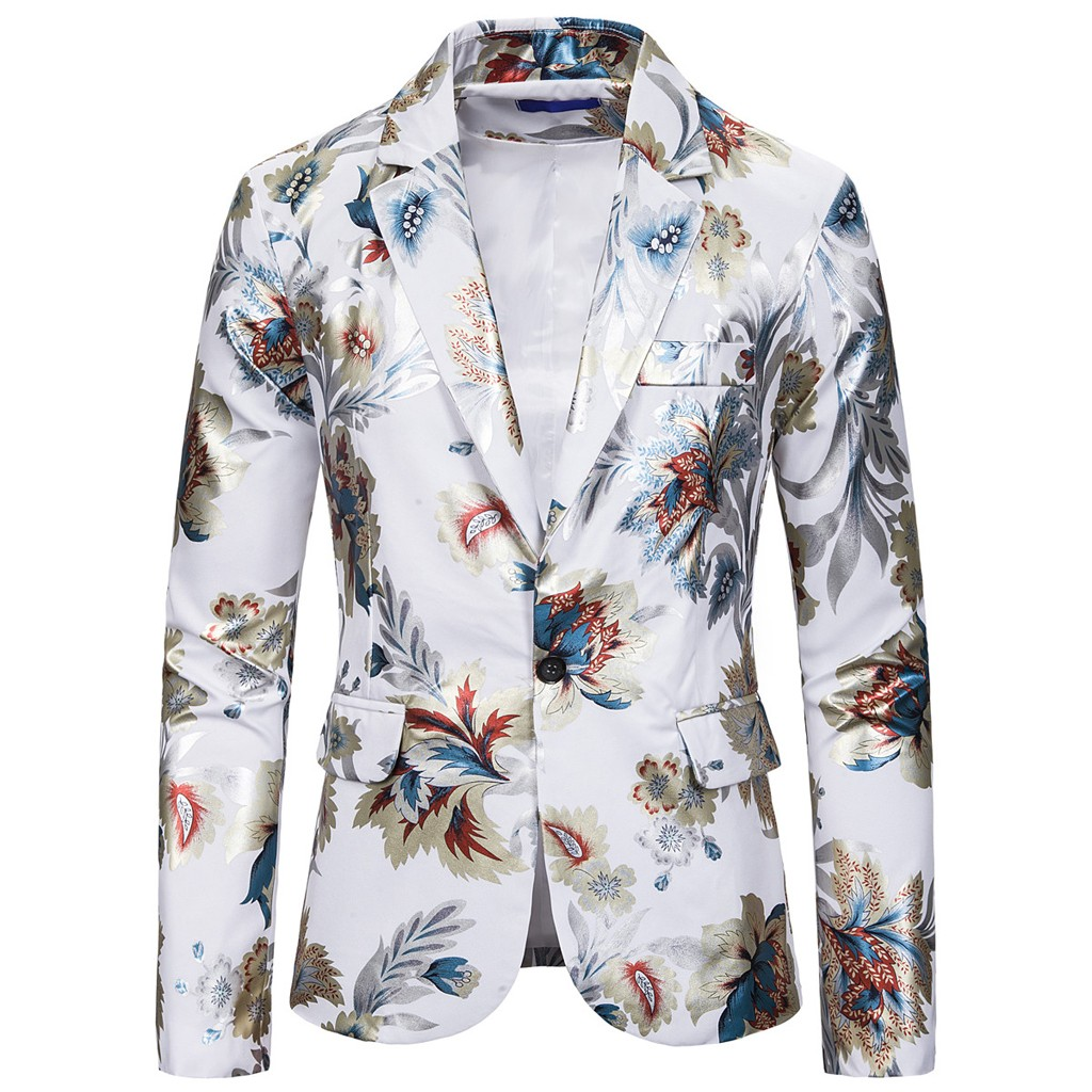 Vogue Men Blazer Nice Party Banquet Size Male Print Retro Blazer Single Button Jacket turn-down Collar Slim Coat Winter Autumn