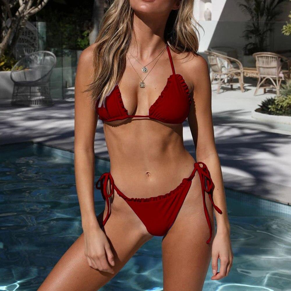 Sexy Wine Red Swimsuit Female Ruffled Bandage Bikini Set 2019 Biquini Push Up Swimwear Women Thong Bathing Suits Maillot De Bain