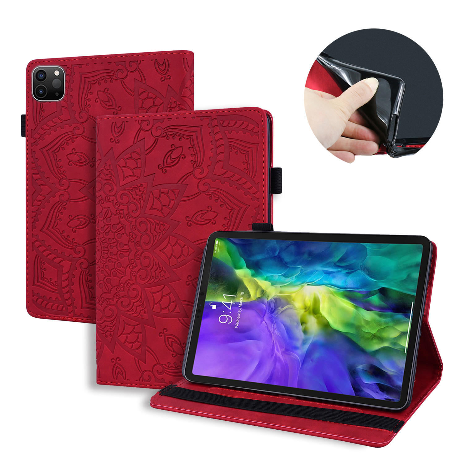 Red Green Flower Embossed Tablet Cover For iPad Pro 2020 Case 12 9 4th Generation Tablet Cover Fold