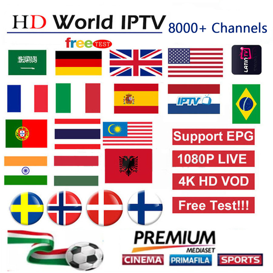 World 8000+Live Europe IPTV Spain  Brazil French Dutch Arab Portugal UK IPTV Subscription Free Test Sports Android TV Box PC