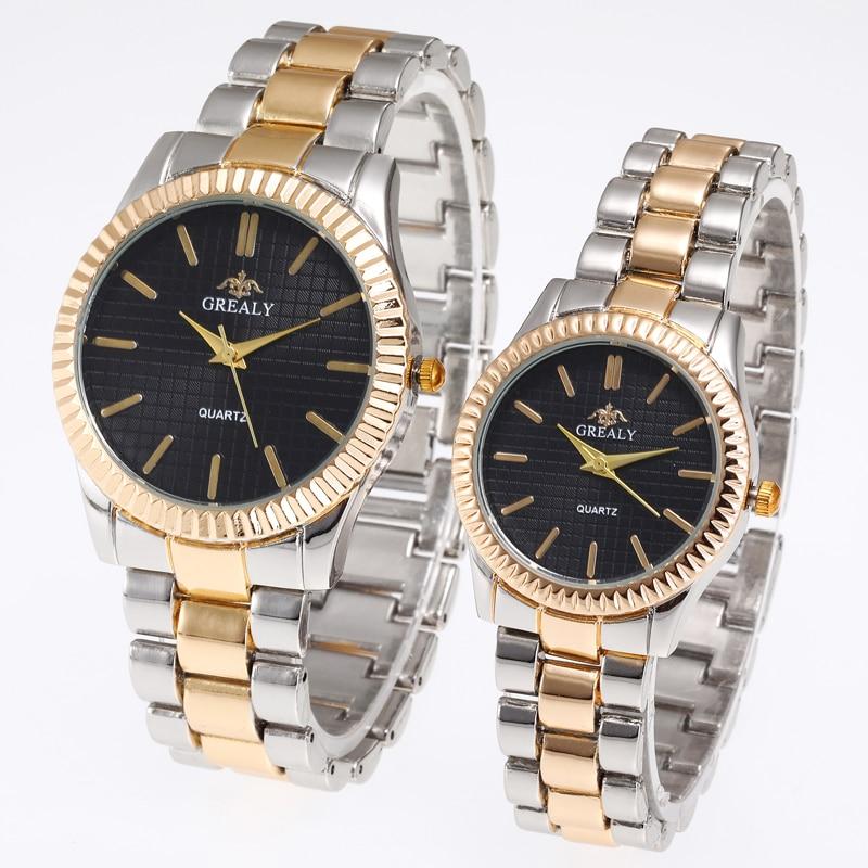 Mesh Dial Luxury Wristwatch Ladies Pair Watch Femme Stainless Steel Strap Couple Watches Lovers Women Man Quartz Female