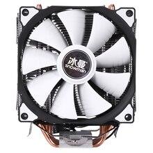 눈사람 M T6 4 핀 CPU 쿨러 마스터 6 히트 파이프 더블 팬 12cm 냉각 팬 LGA775 1151 115X 1366 인텔 AMD 지원