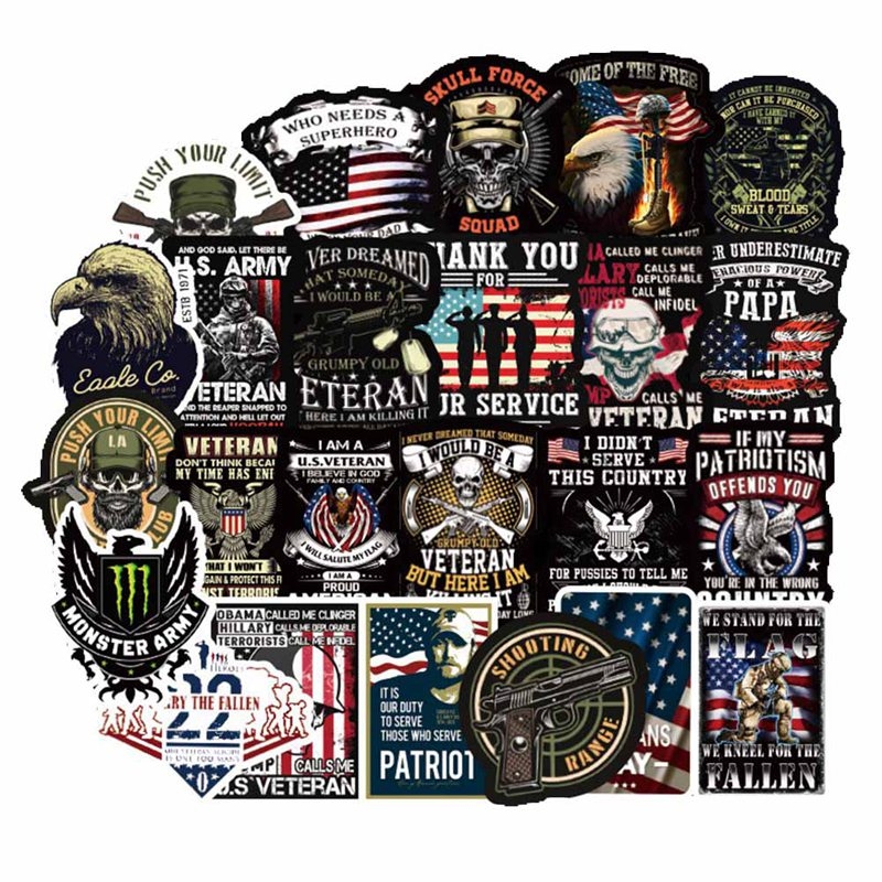 For Hard Hat Stickers 50+ MEGA PACK, Tool Box Stickers And Decals Military, Veteran,Patriotic USA Stickers, Make People Laugh