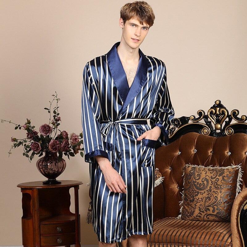 Men'S Single Silk Robe Spring Summer Thin Long-Sleeved Bathrobe Men'S Blue Striped Loose Bathrobe Lounge Negligee Sleepwear
