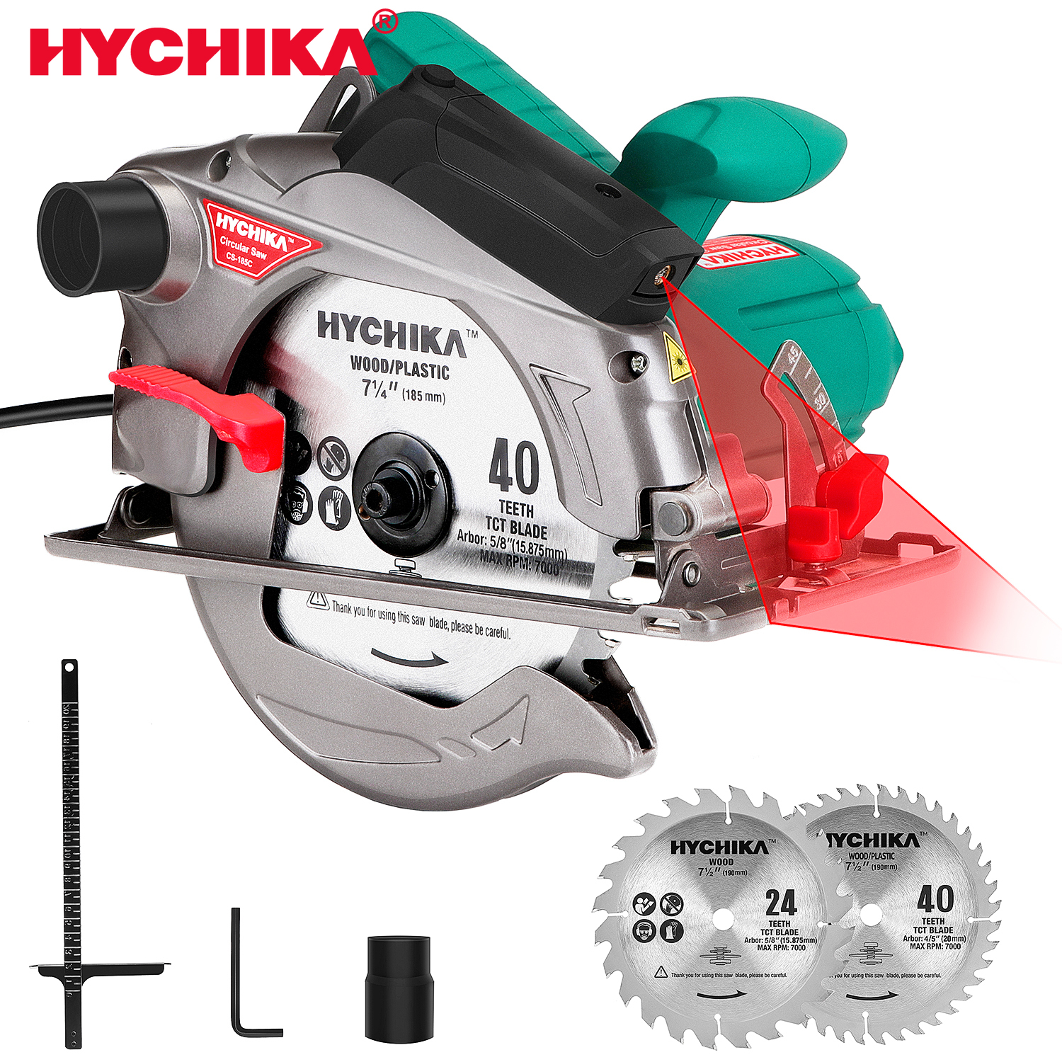 HYCHIKA Circular Saw 12.5A Electric Saw with Fixed Speed 4700RPM Laser Guide Power Tools