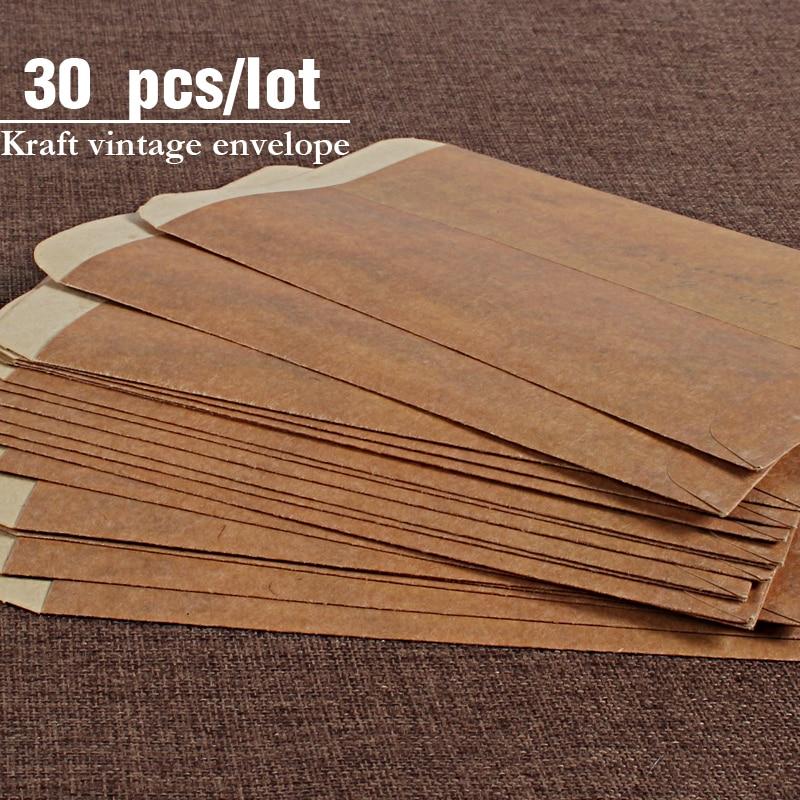 30 Pcs/lot Vintage Kraft Envelopes Wedding Invited Envelope Postcard Cover Paper Stationery Zakka Envelopes For Gift Invitation