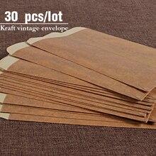 30 unids/lote de sobres de papel Kraft Vintage para invitaciones de boda, sobres de papel para postales, papelería, sobres Zakka para invitación de regalo