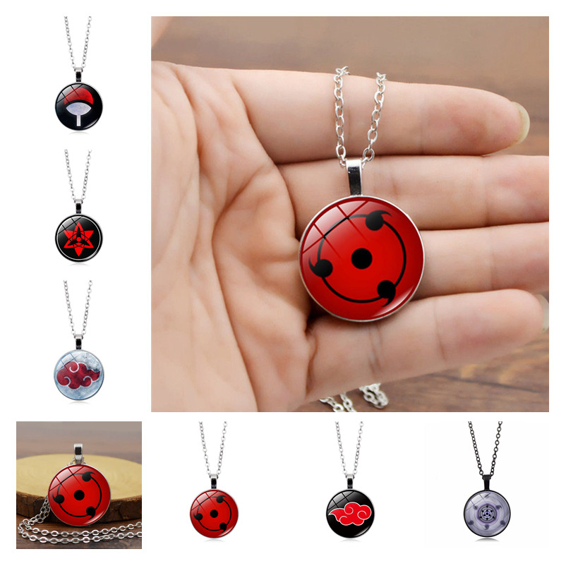 Anime NARUTO Uchiha Itachi Akatsuki Cosplay Accessories Pendant Sasuke Sharingan Pain Rinnegan Metal Gem Necklace Retro Jewelry