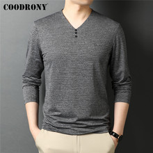 COODRONY Brand Spring Autumn New Arrival High Quality Fashion Button V-Neck Tops Long Sleeve Cotton T Shirt Men Clothing C5062