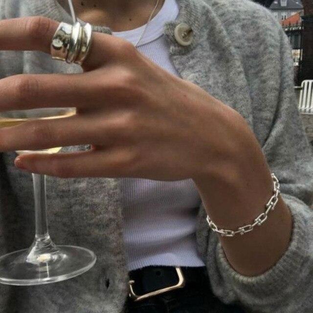 925 Sterling Silver Lock Chain Bracelet for Women Men Vintage Handmade Hasp Adjustable Bracelet Party Jewelry Gift S-B451 6