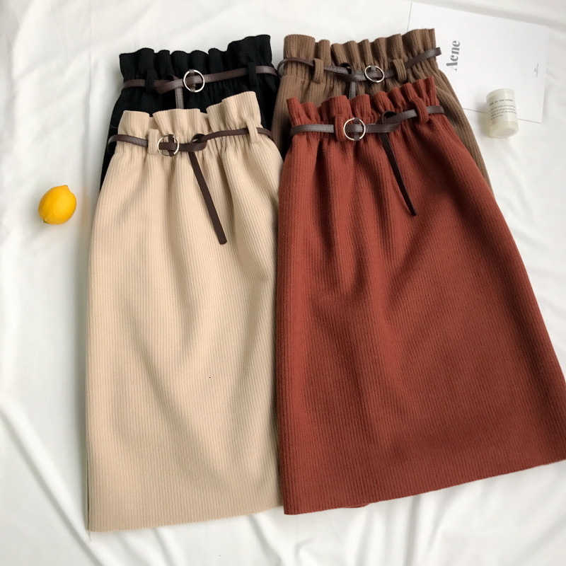 Women Midi Skirts Solid Color Tweed High Waist Wrap Skirt Slit Elastic Fitted Waist A-line Midi Skirt With Chic Belt