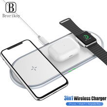 3 in 1 Wireless Charger 10W Wireless Fast Charging Pad for iPhone 11Pro/X/Xs/8 For Apple Watch Series 5 4 3 2 Airpods Pro Dock