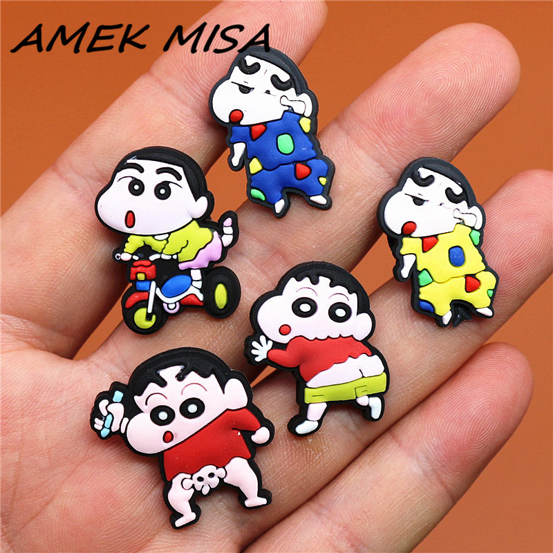 1 To 5pcs PVC Cartoon Shoe Charms Accessories Crayon Shinchan Croc Shoe Buckle Decorations Ormaments Fit JIBZ Party Kid's Gifts