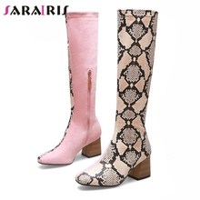 SARAIRIS Brand New Design Plus Size 32-48 Chunky Heels Knee High Boots Woman Shoes Zip Up Mix Color Autumn