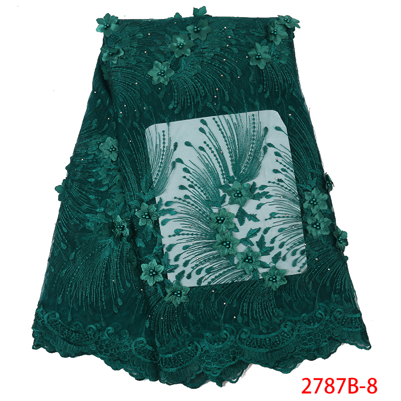 Latest Nigerian Lace Styles,Tulle Lace Fabric 2019, 3D Flowers French Net Lace With Beads For Party Dresses KS2787B-8