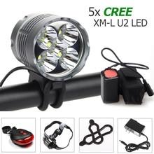 цена на Waterproof 8000Lm Bike Headlamp 5x CREE XM-L U2 LED Front Bicycle Headlight+ 2 Laser 5 LED Rear Light