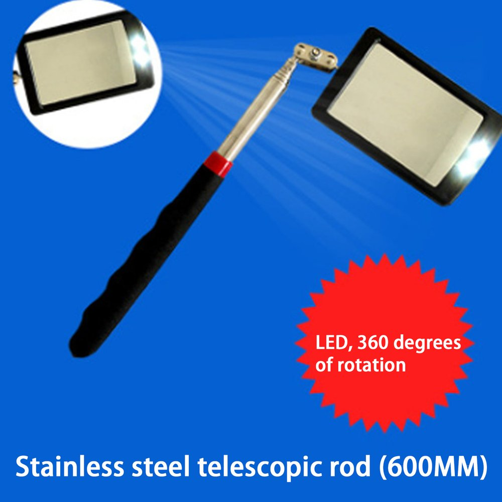 Telescoping Flexible Inspection Mirror With Bright LED Lighting 360 Swivel For Extra Viewing Portable Automotive Tool