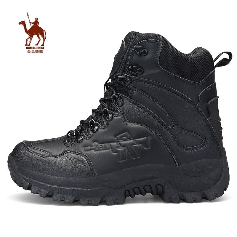 KAMEL JINGE Leder Winter Plattform Männer Wandern Schuhe Jagd Stiefel Sport Outdoor Wanderschuhe Wasserdicht Männer Taktische Militärische Stiefel