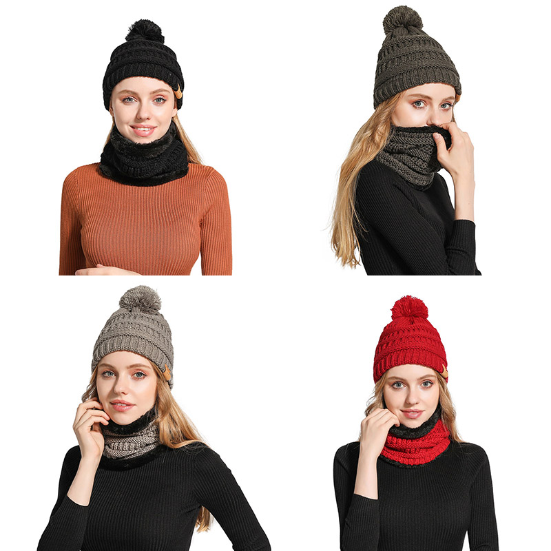 Neck Warmer Knitted Ski Bibs Hat Winter Snow Sport Snowmobile Men Women Beanie Skullies Beanies Thicken Plus Velvet Scarf Mask