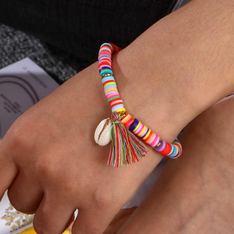 MINHINพู่สีสันCharmsสร้อยข้อมือผู้หญิงสร้อยข้อมือลูกปัดHandmade Seashellชายหาดฤดูร้อนDIYเครื่องประดับ