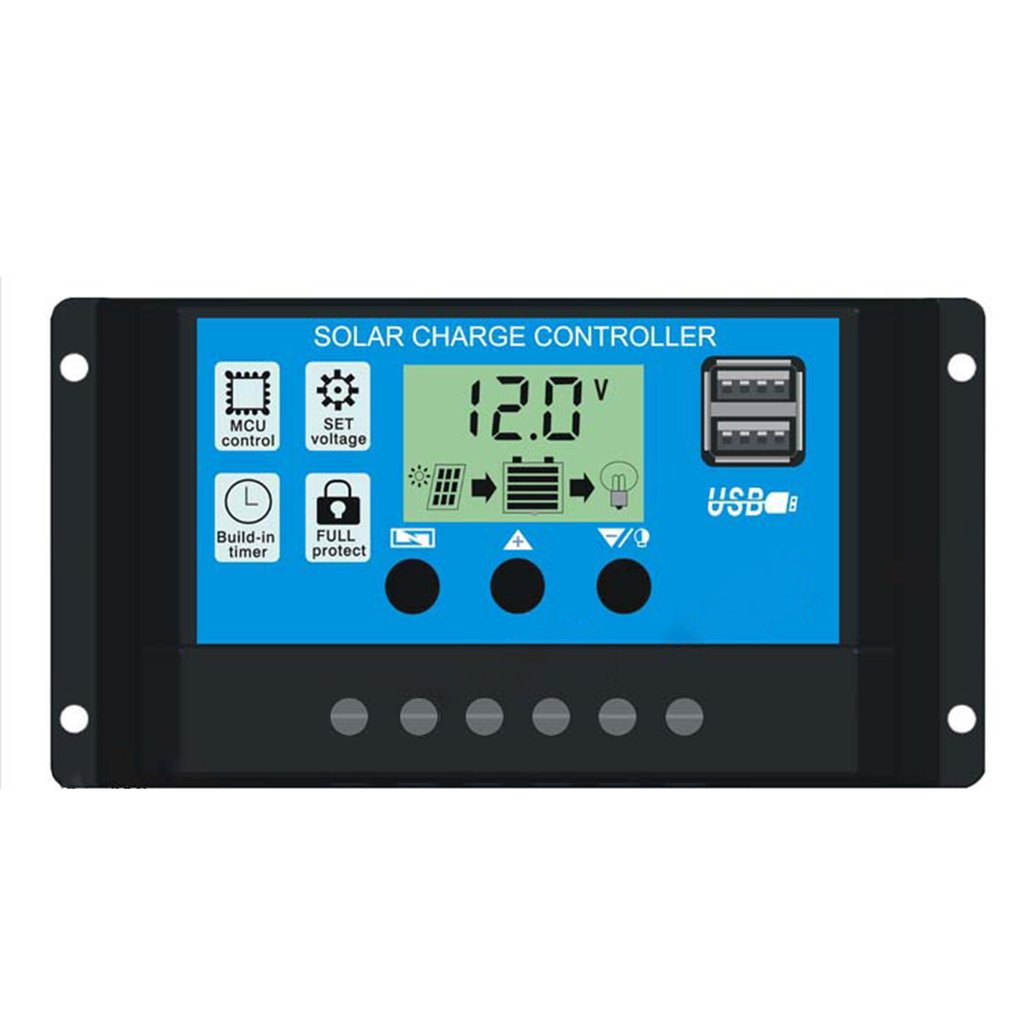 20A Solar Charger Controller Solar Panel Battery Intelligent Regulator With USB Port Display 12V/24V
