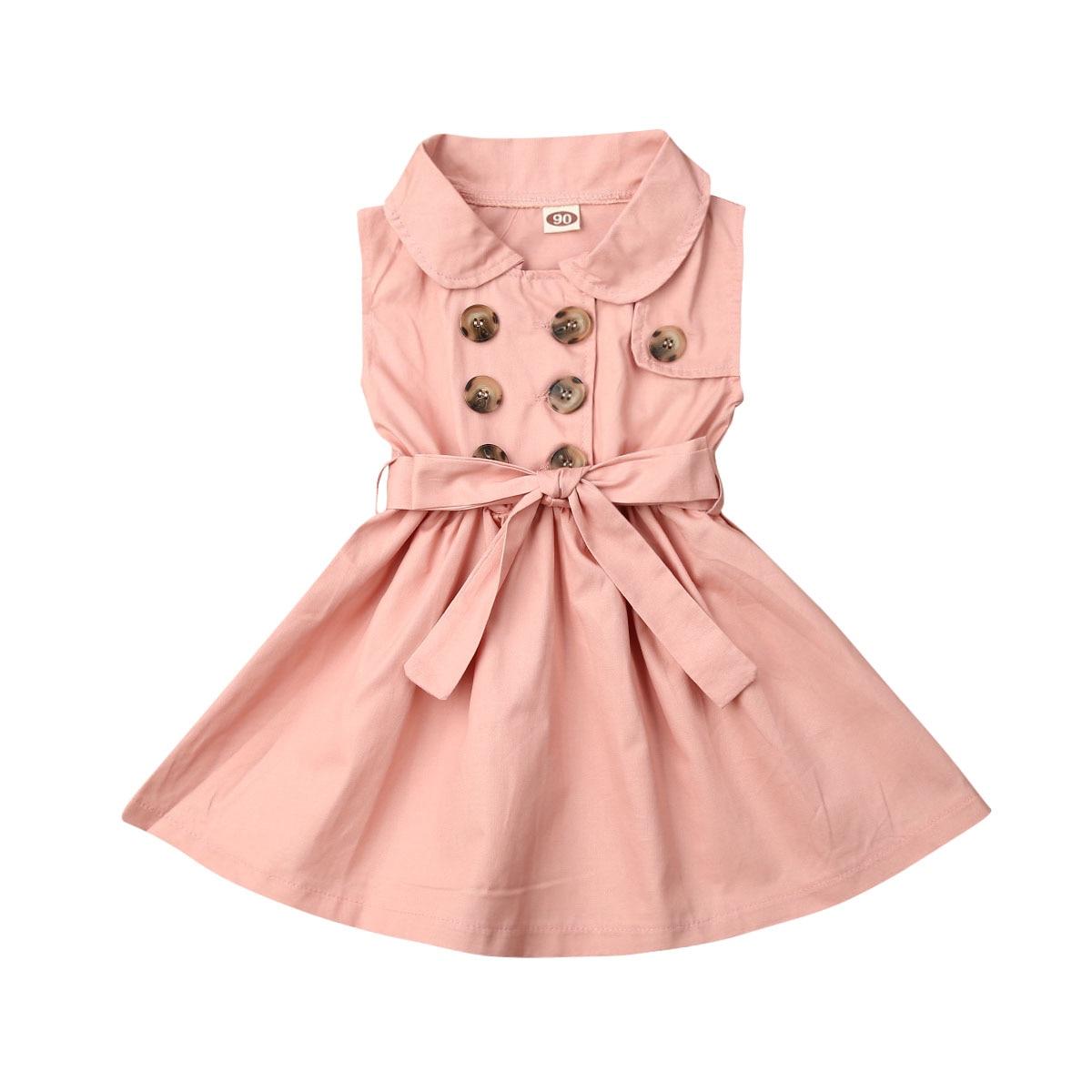 От 1 до 6 лет, модное платье для маленьких девочек новое праздничное платье принцессы без рукавов с пуговицами и бантом на свадьбу - Цвет: Розовый