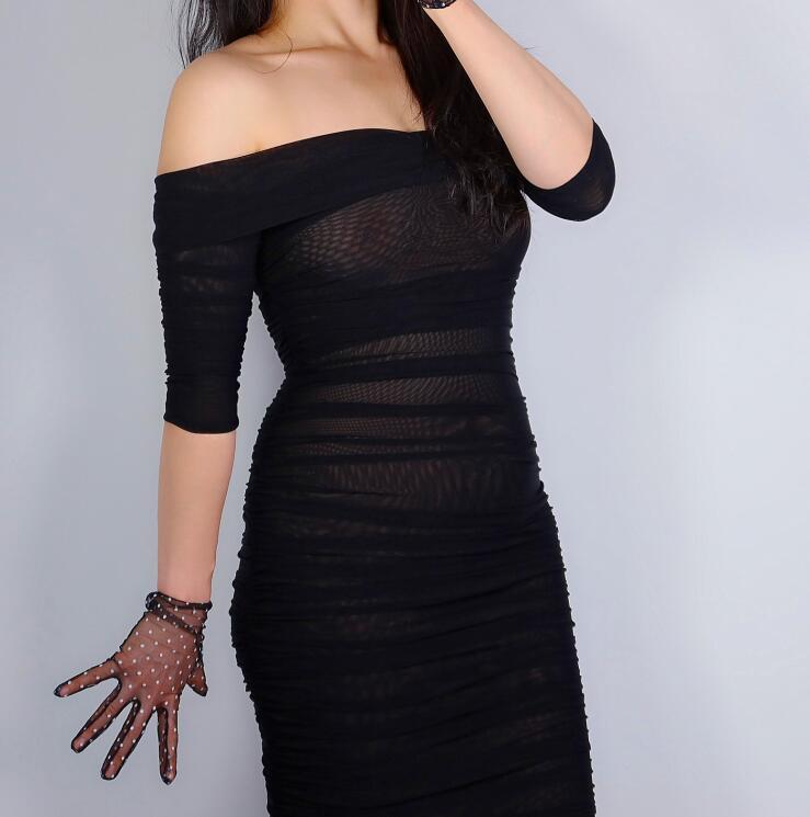 Women's Sexy Transparent Dot Print Black Mesh Glove Female Summer Sunscreen Club Party Dancing Glove R2694