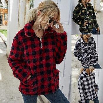 Sweatshirt Women 2020 Autumn Oversize Hoodies Streetwear Pliad Turn-down Collar Hoodie Ladies Pullovers Sweatshirt Women Hoodie inclined zipper fly rib spliced turn down collar slimming flocked sweatshirt for men