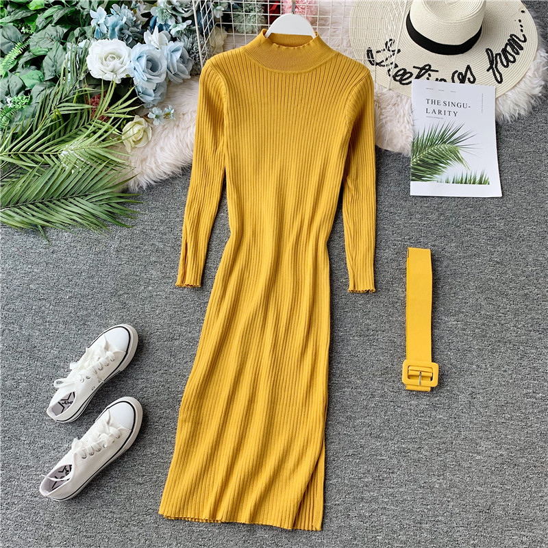 Women's Sweater Dress Split Solid Knit Autumn Long Sleeve Turtleneck High Waist Midi Dresses Woman Vestido Female LS099