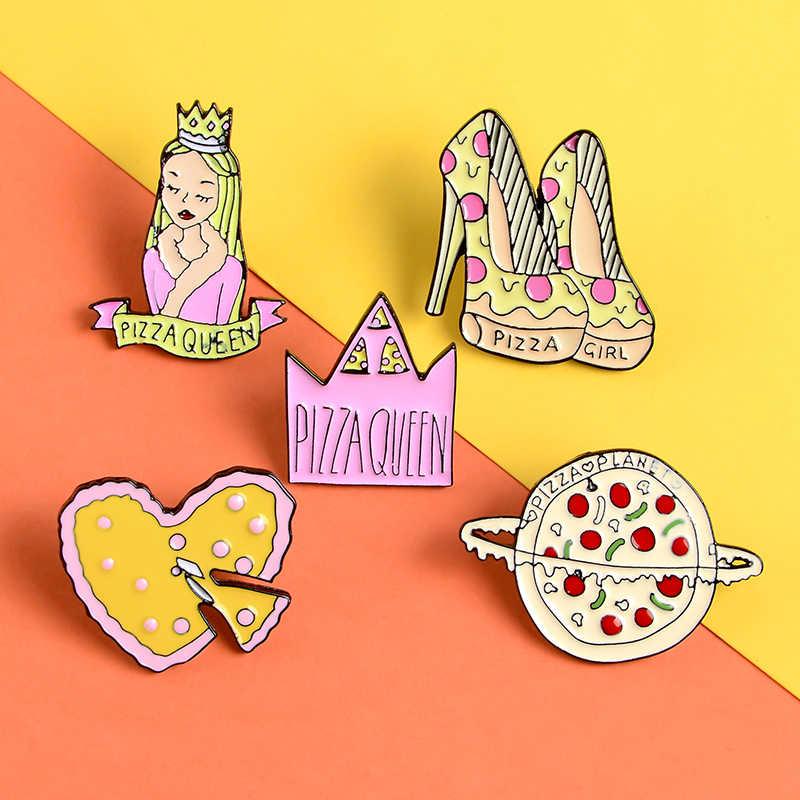 Stile nubile pizza smalto pin Pizza queen Cuore Corona Pianeta Risvolto pin spilla Cibo Delizioso Camicia sacchetto Distintivo Dei Monili delle donne regalo