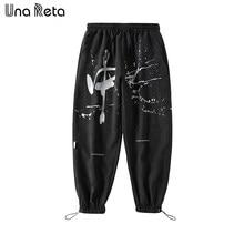 Una reta calças masculinas primavera 2021 nova moda solta corredores hip hop carta chinesa impressão harem calças casuais moletom homem