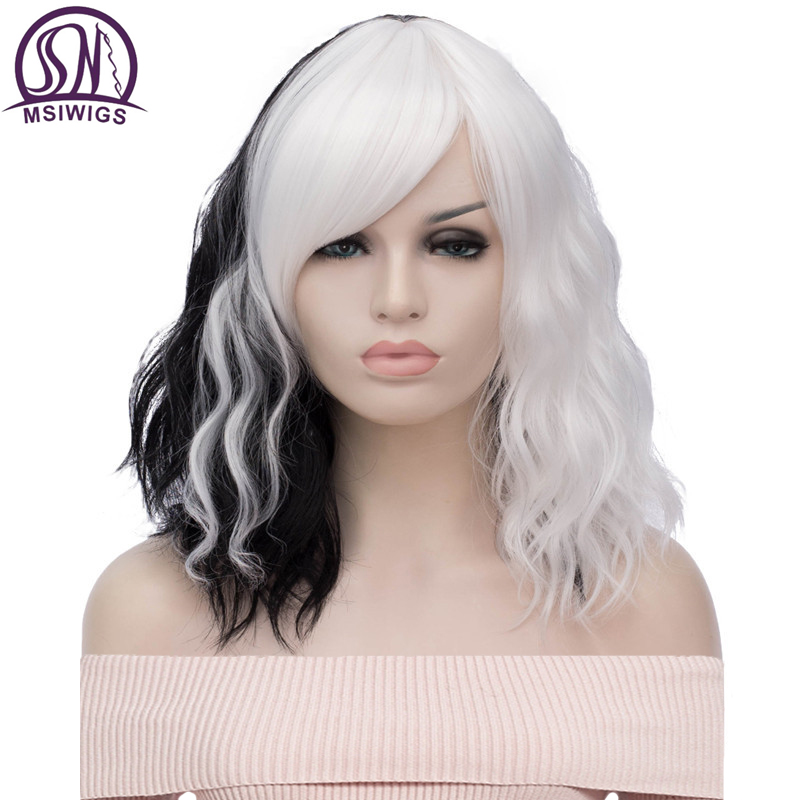 MSIWIGS Black And White Cosplay Wigs For Women Wavy Short Synthetic Wig Purple Rainbow Heat Resistant