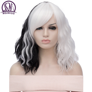 Image 1 - MSIWIGS Black and White Cosplay Wigs for Women Wavy Short Synthetic Wig Purple Rainbow Heat Resistant