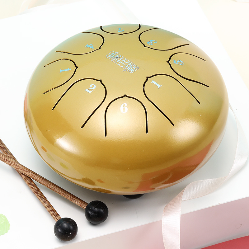 6 Inch Mini Drum Ethereal Drum 8 Tone Key C Steel Tongue Drum Percussion Hand Pan Drum Instrument Musical Instruments
