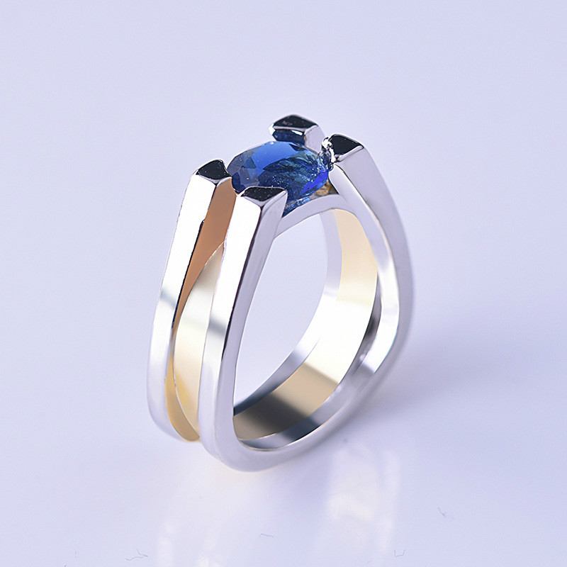 Unique Two Tone 925 Silver Blue Geometric Ring yellow gold Wedding Jewelry CLOVER JEWELLERY