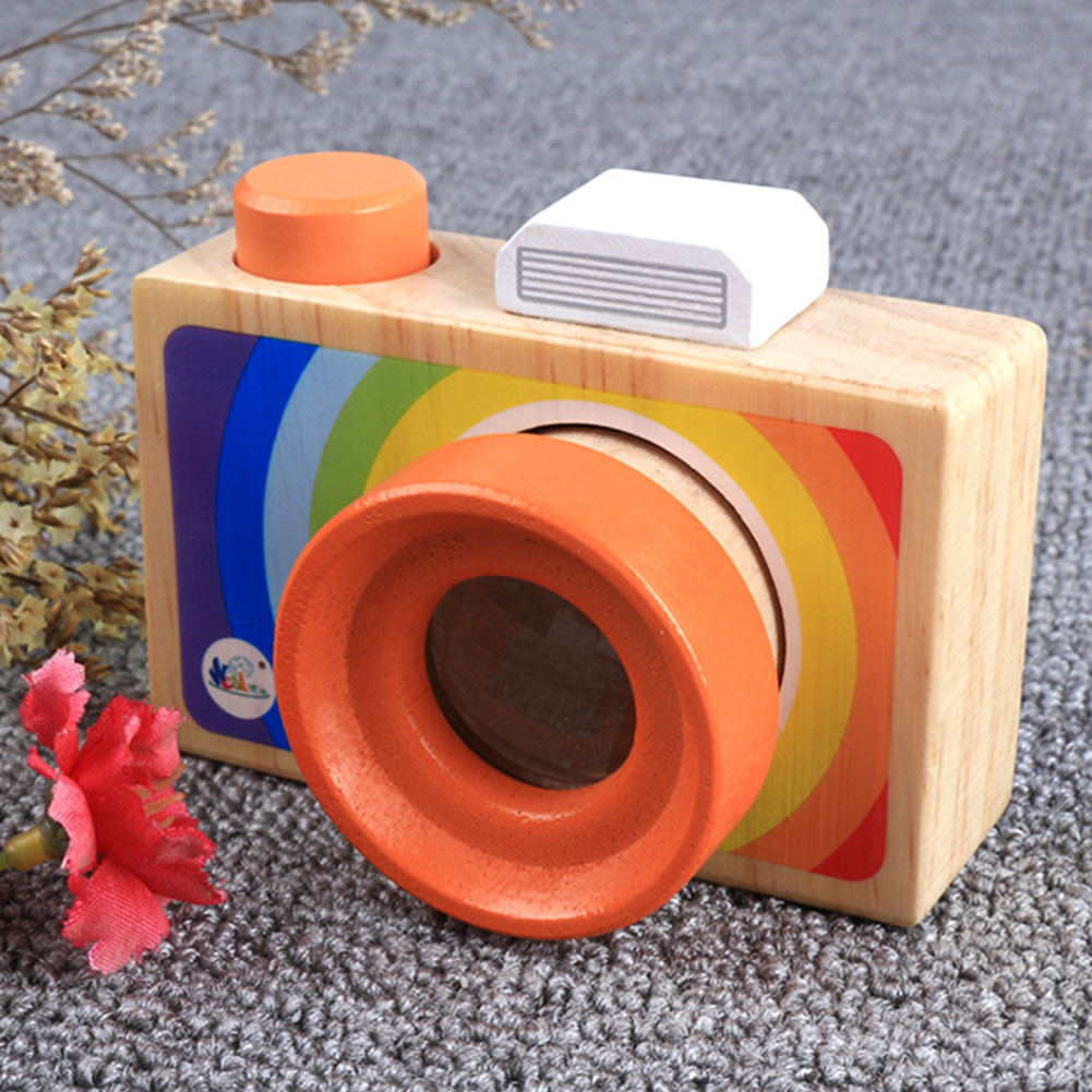 Kids Camera Mini Cartoon Gift Educational Hanging Toy Wood Decorations Baby
