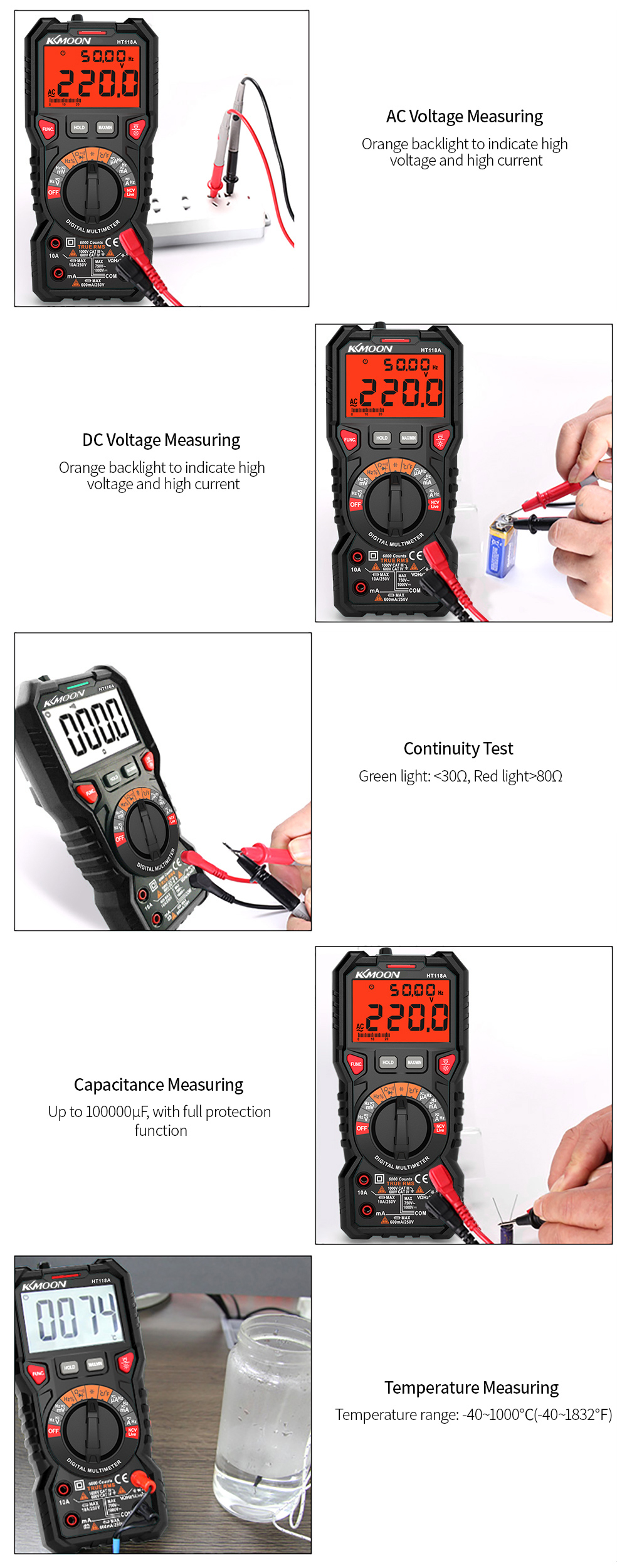 Tools : HT118A Multifunctional Digital Multimeter 6000 Counts True RMS Measuring Voltage Current Frequency Temperature NCV Test Diode