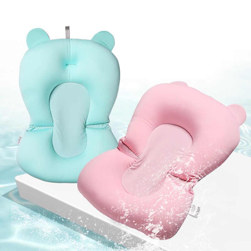 만화 휴대용 베이비 샤워 욕조 패드 미끄럼 방지 욕조 매트 신생아 안전 보안 목욕 지원 쿠션 접이식 소프트 베개